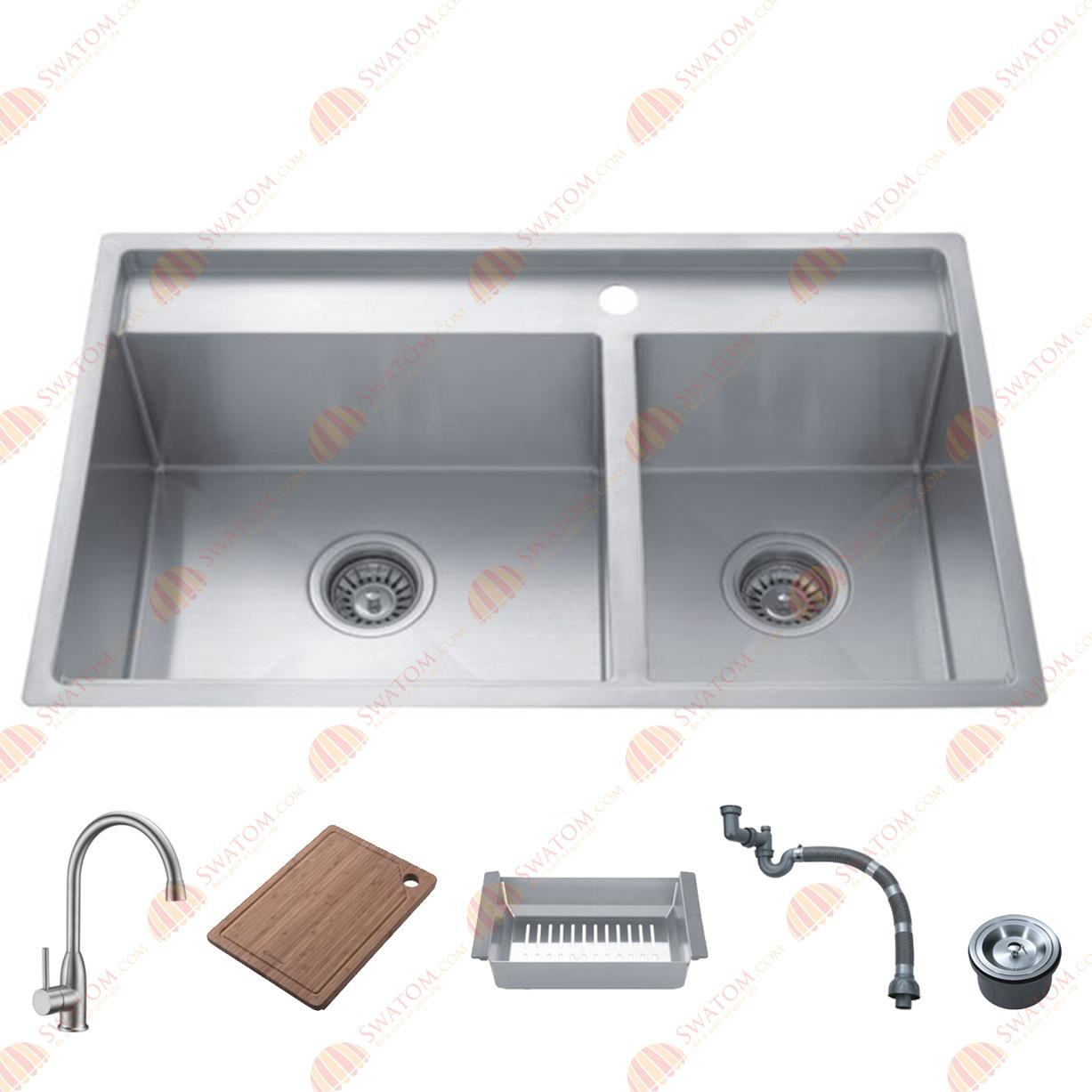 ... Drop in Double Bowl Kitchen Sink Free Accessories, handmade Sink(China