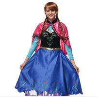 Princess Anna Deluxe Blue Traveling Gown Halloween Costume For Adults Women