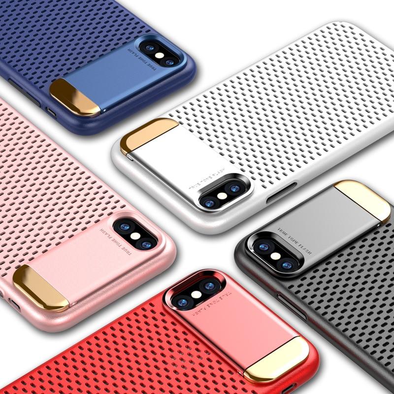 In Lega di zinco Kickstand Custodia Per Apple iPhone X Honeycomb Hollow Dissipazione di calore Del Basamento Della Copertura Della Cassa Dell'armatura Per il iphone 7 8 più