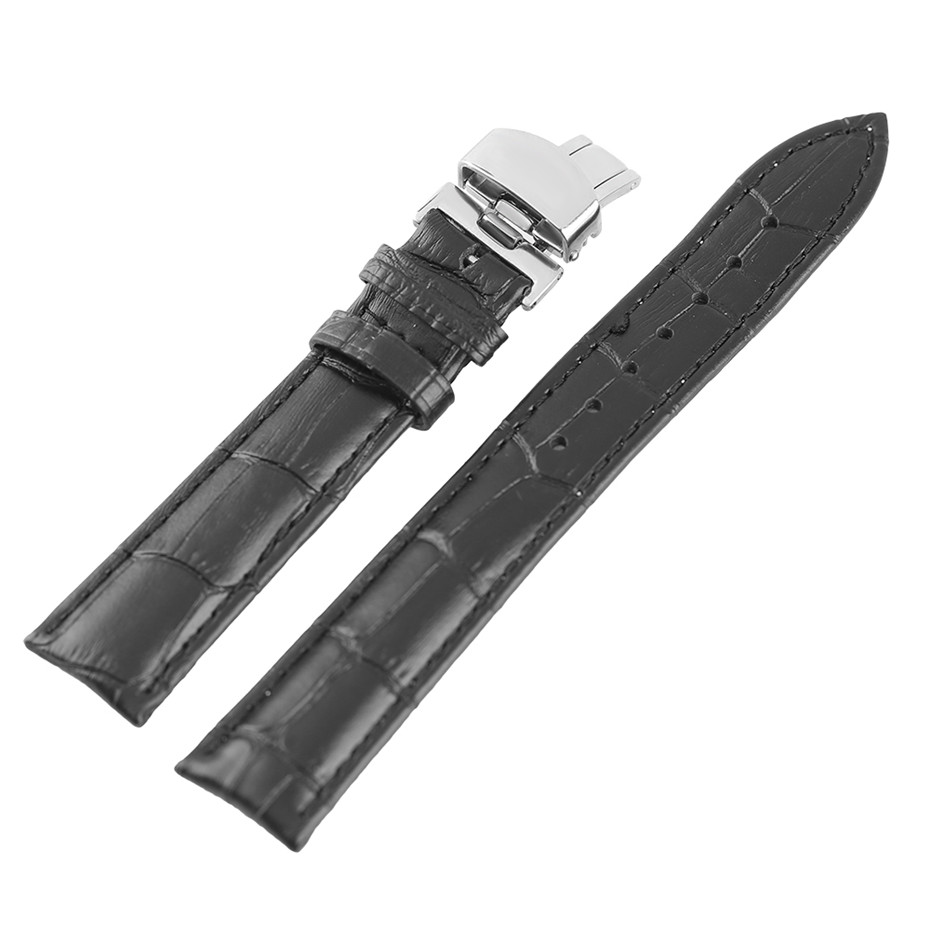 18/20/22mm Black Soft Genuine Leather Watch Strap Stainless Steel Butterfly Buckle Watchband Men Watches Replacement Bracelet