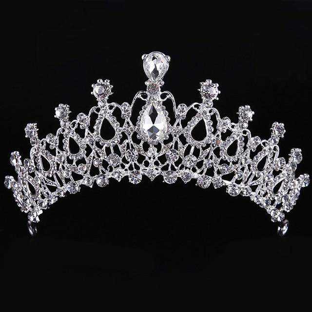 Di modo di Stili Europei Argento Monili Dei Capelli di Perle di Cristallo Diademi E Corone Per La Cerimonia Nuziale Della Sposa Delle Donne Fatti A Mano Accessori Per Capelli
