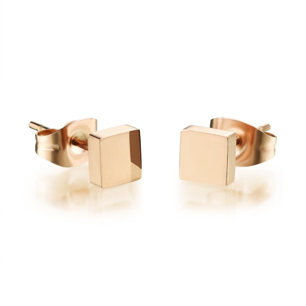 de7d76de3 Stainless Steel Earrings Square Design Stud Women New Casual Champagne Gold  Women Fashion Jewelry New Pure Cute Lovely