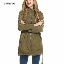 CROPKOP Women Hooded Trench Coats Long-sleeved Waterproof Long Autumn Winter Hem Slit Raincoats Black Casual Zipper Windbreakers