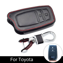 2 Buttons Key Protection Cover Genuine Leather Car Case For Toyota Corolla Highlander Crown with Chain