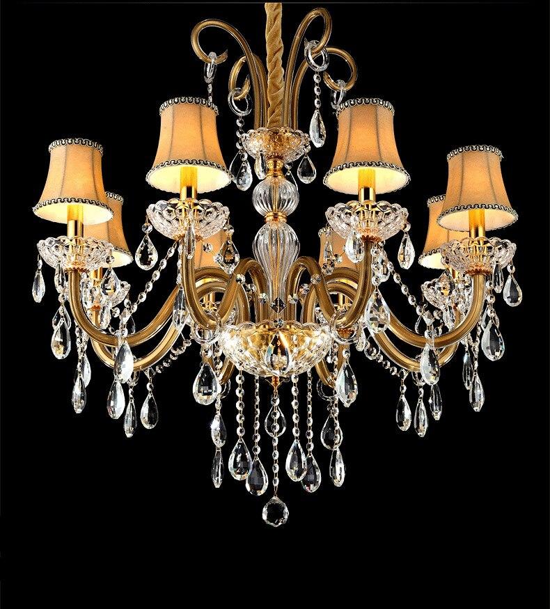 Dressing room Led Champagne crystal lighting chandelier Lustres De Cristal Bedroom Dining Room Crystal chandeliers with shades