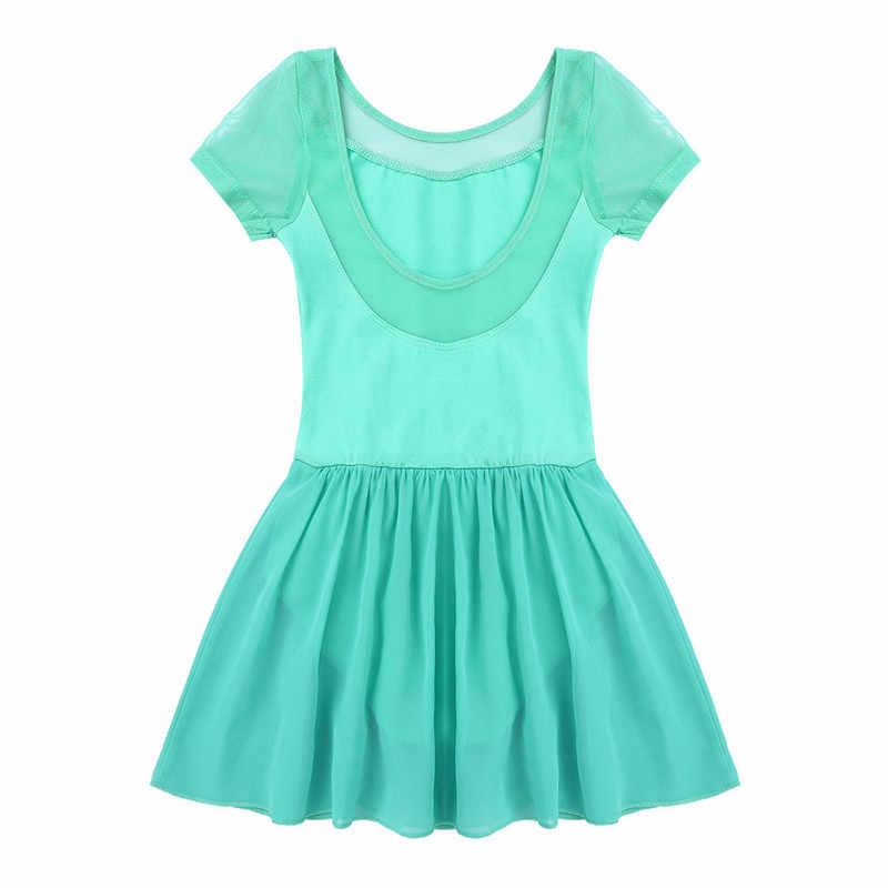 Anak Perempuan Baju Renang untuk Menari Senam Leotard Gaun Ballerina Gaun untuk Gadis Mesh Lengan Pendek Tari Balet Gaun