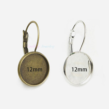 100pcs Fit 12mm Cameo Glass Cabochon Silver Plated Bezel French Lever Blank Back Earring Base For