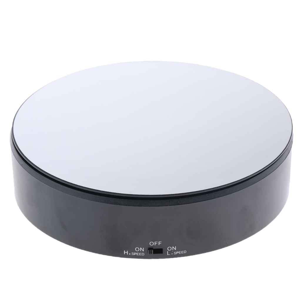 PVC Mirrored Display Base Electric Rotating Turntable Phone Bag Show Stand Black For 360 Degree Images