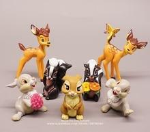 디즈니 밤비 6 9 cm 7 개/대 미니 인형 액션 그림 자세 애니메이션 장식 컬렉션 입상 장난감 모델 어린이 선물