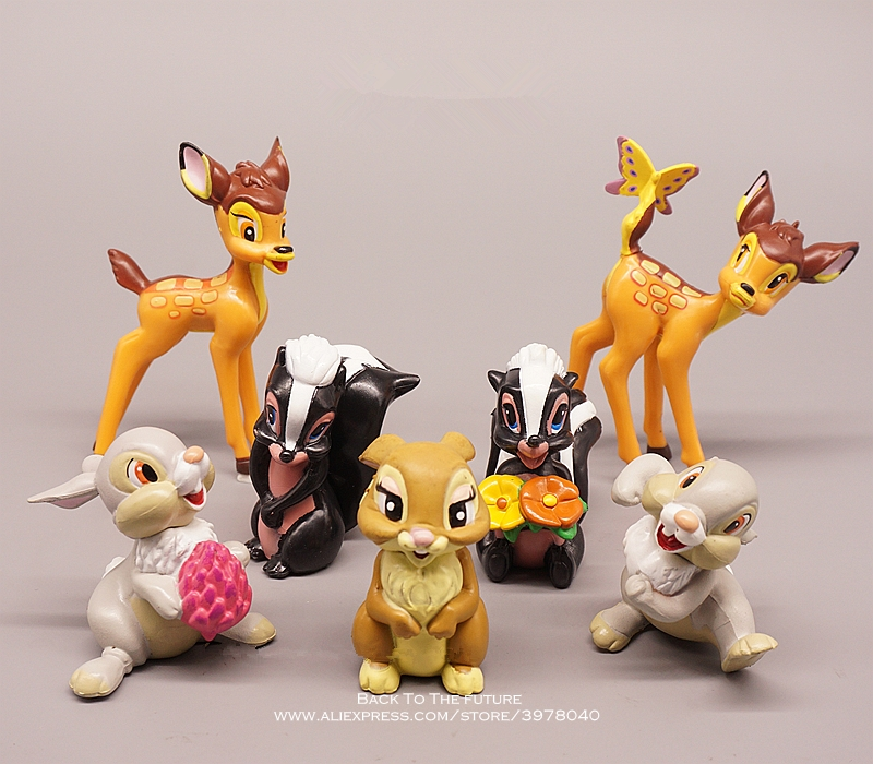 Disney Bambi 6-9cm 7pcs/set Mini Doll Action Figure Posture Anime Decoration Collection Figurine Toys Model For Children Gift