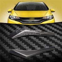 High Quality Real Carbon Fiber Decoration Headlights Eyebrows Eyelids Cover For Honda Fit Jazz 2014 2015