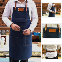 Working Denim Bib Apron Leather Strap Barista Chef Barber Pocket Studio Uniform