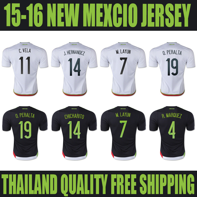 top aaa mexico jersey 2015 soccer black white home away 2016 national team mexico camisetas futbol wholesale 2015 2016 thailand