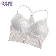 Women Crop Tops Hollow Out Camis Underwear Sheer Lace Padded Bralette Top Tank Belt Strap Short Blouse Vest Lingerie