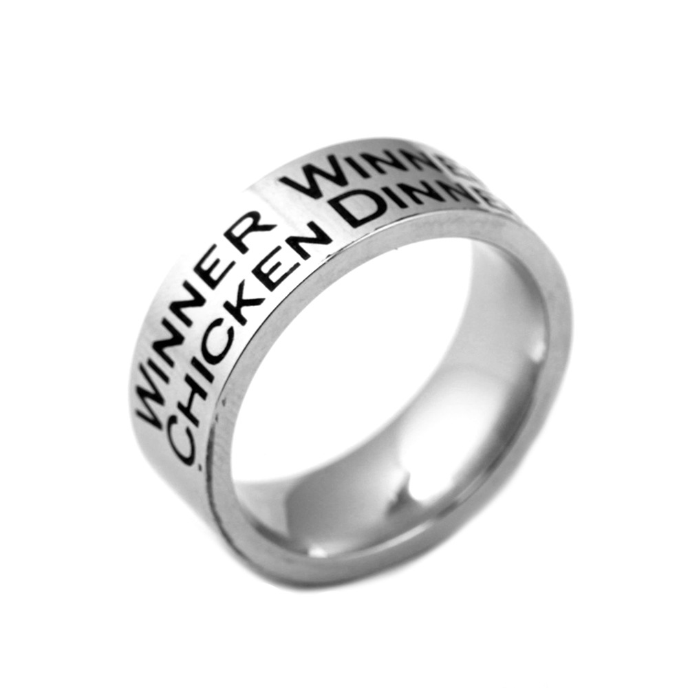 Us 161 19 Offgame Playerunknowns Battlegrounds Stainless Steel Finger Ring Pubg Winner Letter Design Chicken Dinner Charms Gift Bague In Rings