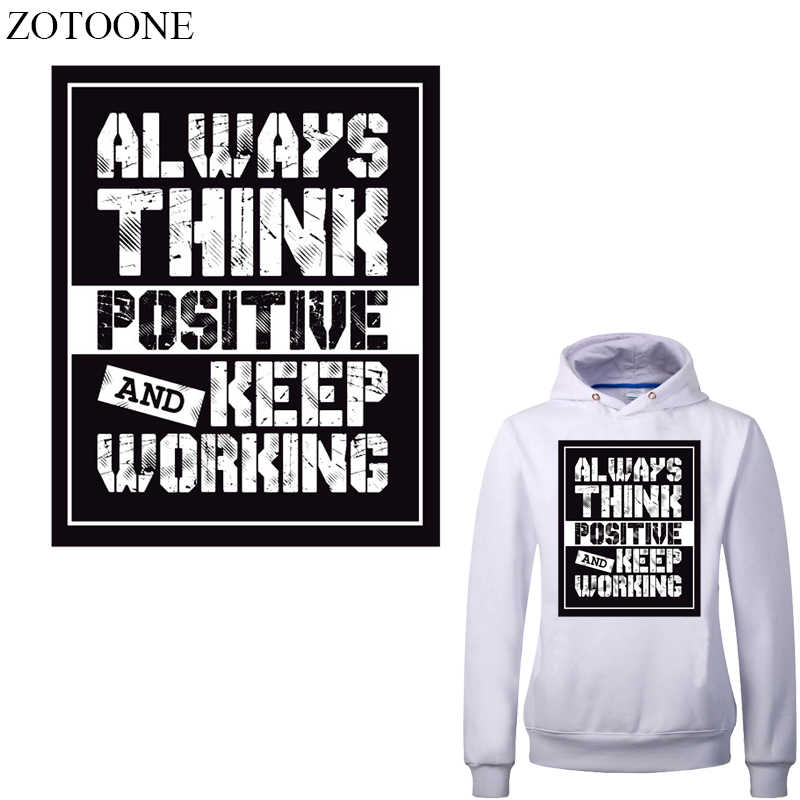 Zotoone Mode Brief Patch Warmteoverdracht Vinyl Stickers Voor Kleding Diy T-shirt Applicaties Strepen Op Kleding Thermische Druk