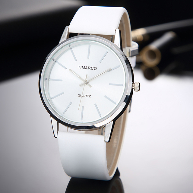 Fashion Women Watches Minimalist Casual White Leather Ladies Wrist Watch Simple