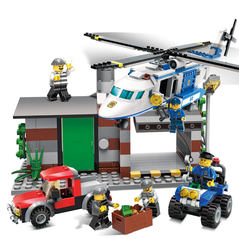 kazi city police station swat helicopter speedboat diy model building kits education toys for children festival gift for friends KAZI City Police Series Helicopter Action Model Building Block Brick Collectible 2017 Creative Educational Toys For Children