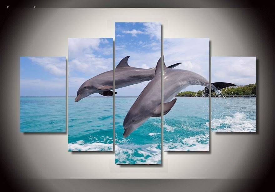 Exceptional 5 Panels Hd Printed Dolphin Wall Art Painting Canvas Print Room Decor Print  Poster Picture Canvas