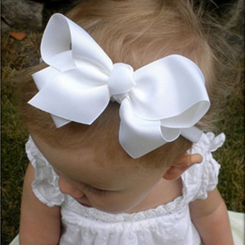 Naturalwell Small Girls Big Bow Headband Newborn Bebe Hair Accessories Elastic Hair Bands Cute Baby Girls Headbands HB179 7 fashion boutique grosgrain ribbon organza breast cancer printed cheer bow with elastic hair bands for cheerleading girls