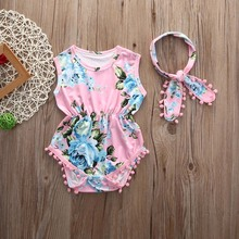 Baby Girls Clothes Floral Sleeveless Romper Outfits 0-2Y