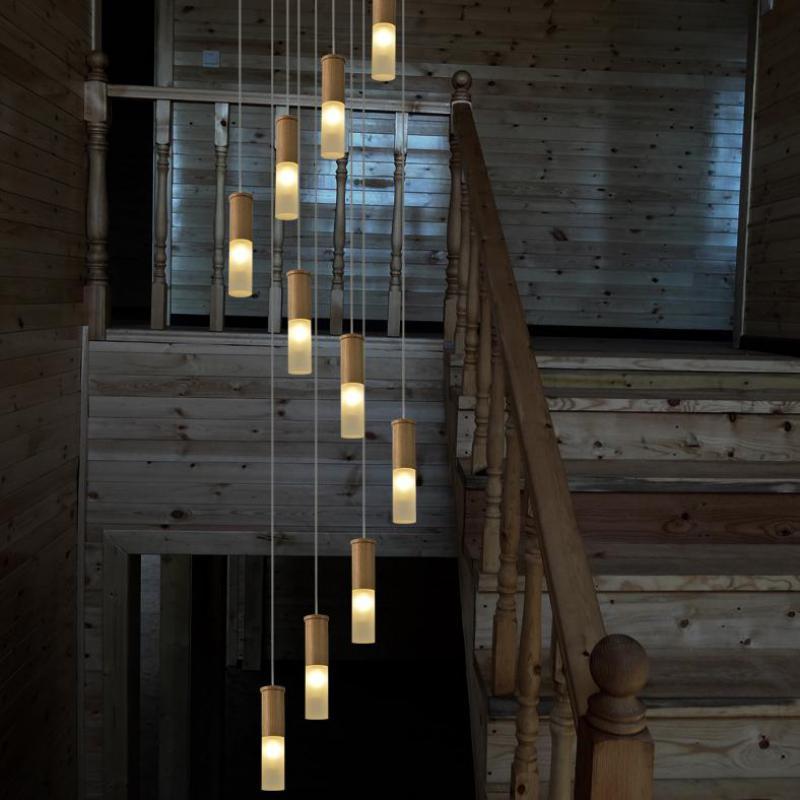 Пентхаус ар деко деревянные лестницы light Hotel зал Длинный Спираль светодио дный люстры современные деревянные лестничные светильники лестни