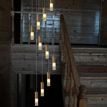 Penthouse art deco luz das escadas Do Hotel salão longa espiral conduziu a iluminação lustre de madeira moderna escada de madeira Escada lâmpadas Lustres