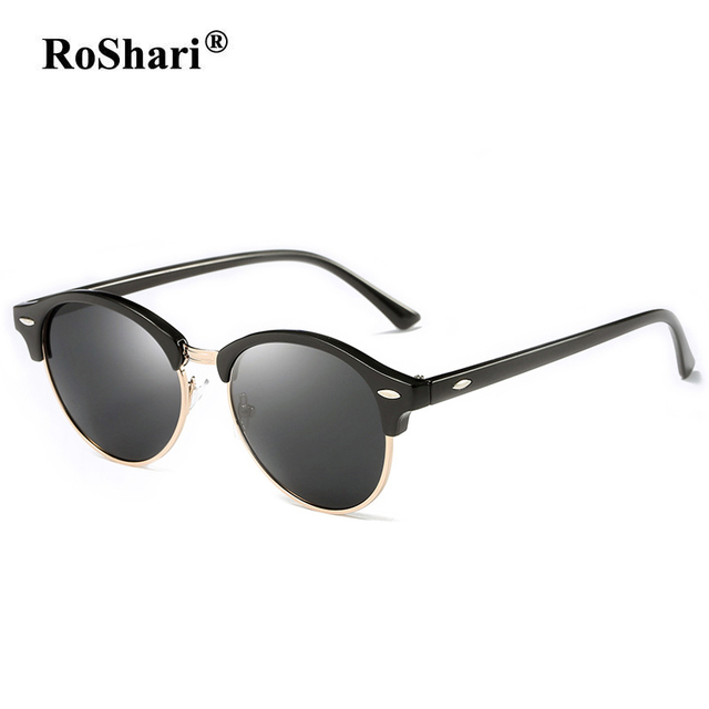 RoShari Classic Polarized Sunglasses Women men Round Frame Brand ...