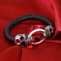 Hot Silver Stainless Steel Skull Bracelets Weave leather bracelet & Bangle Punk jewelry Wholesale Bracelets For Man Woman