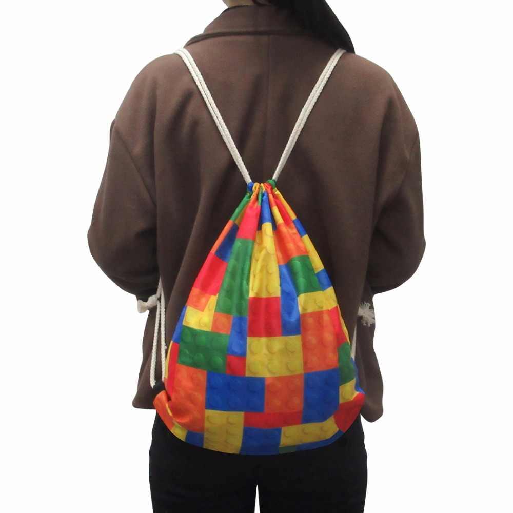Новый милый рисунок единорога печать лошадь мешок шнурок детская мягкая сумка для хранения упаковки Повседневная модная женская маленькая сумка Прямая доставка