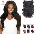 Clip In Human Hair Extensions 10-26 Body Wave Clip Ins Virgin Brazilian Afro Kinky Curly Human Hair Clip In Extensions