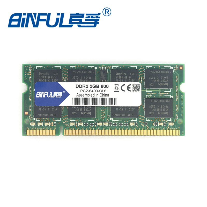 Binful Original new sealed Laptop RAM For DDR2 2GB 800MHz PC2-6400 800mhz 2G notebook ram memory 200PIN