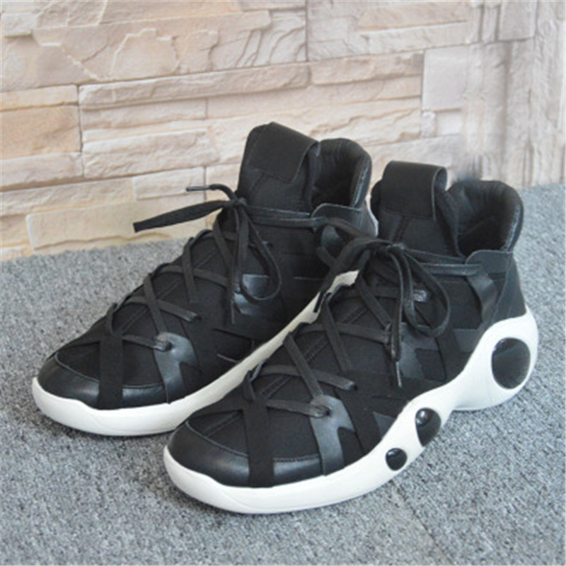 New Men Leather Casual Shoes Luxury Trainers Summer Male Adult Knitting Shoes Flats Spring Black Sneaker High Streetwear Hip Hop - 6