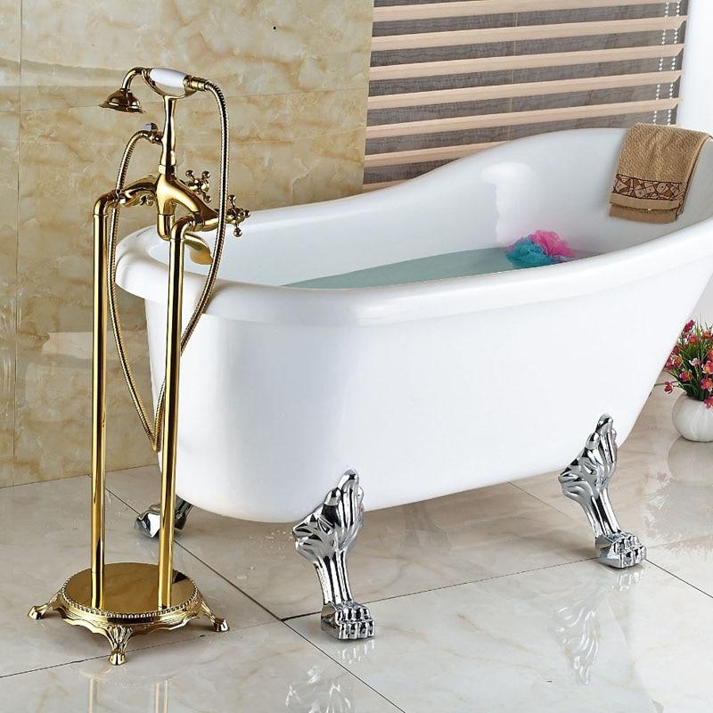 Modern Floor Mount Bathroom Claw foot Bath Tub Faucet Free Standing ...
