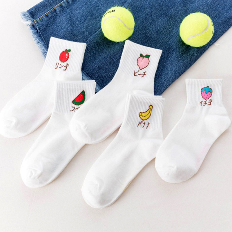 5 Pairs/pack Japanese Novelty Fashion Cool Summer White Cute Fruit Ankle Socks Funny Short  Women Cotton Happy Kawaii Socks Lot