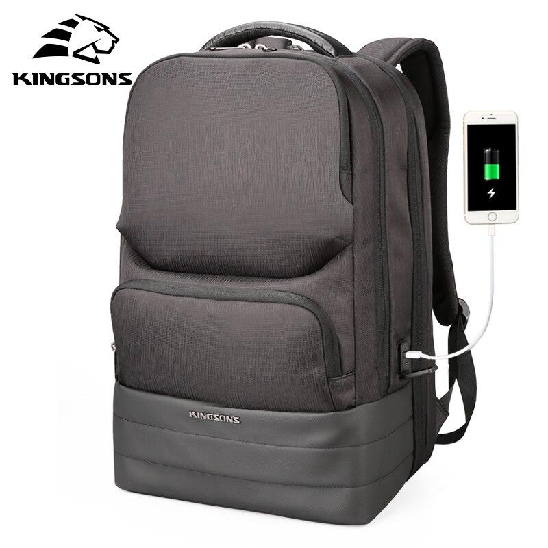 Kingsons Для мужчин Рюкзак 2,0 USB для подзарядки водоотталкивающая ноутбук рюкзаки Для мужчин Бизнес модные сумки на плечо черный Технология