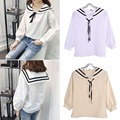 2016 Women Harajuku Sailor Lace Bowtie Collar Bubble Long Sleeve Blouse Shirt For Girl Women