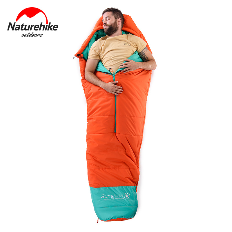 0 Degree Naturehike Mummy Cotton Sleeping Bag Outdoor Camping Adult Centred Zip Ultralight Water-Resistant Sleeping Bags naturehike mummy sleeping bag ultralight camping outdoor 3 season cotton winter adult sleeping bags for tourists 1750g 210 80cm