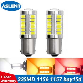 ASLENT 2pcs 1157 BAY15D P21/5W 33 SMD 5630 LED 1156 BA15S P21W Car Tail Bulb Brake Lights 12V Auto Reverse Lamp led Signal Light