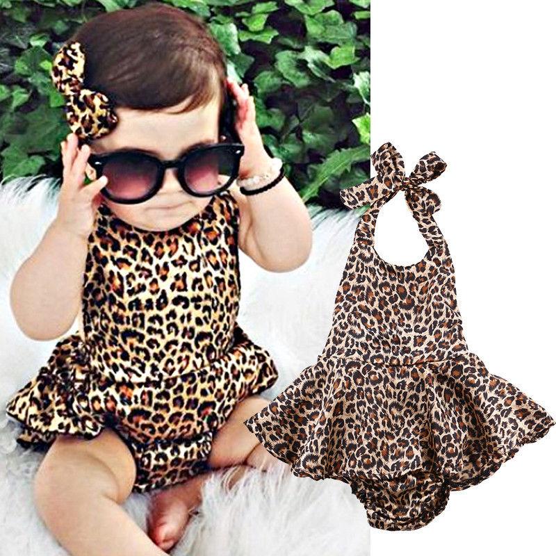 Neugeborenes Baby Mädchen Leopardenmuster Kleidung Strampler Body Jumpsuit