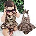 Roupa Das Meninas Da Moda Crianças Da Menina Da Criança Do Bebê recém-nascido Leopardo Saia Bodysuit Sem Encosto Verão Infantil Bebes Roupa Sunsuit