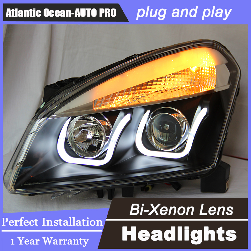 Auto.Pro Car Styling for Nissan Qashqai LED Headlight Qashqai Angel Eye DRL Lens Double Beam HID KIT Xenon bi xenon lens hireno headlamp for 2012 2016 mazda cx 5 headlight headlight assembly led drl angel lens double beam hid xenon 2pcs