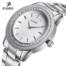 2017 paidu haute qualité en acier inoxydable montre femme grand cadran montre cristal diamants de luxe designer strass quartz montre