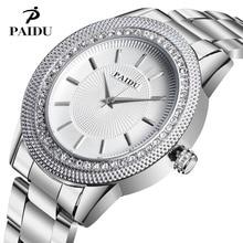 2017 PAIDU High Quality Stainless Steel Watch Woman Big Dial Watch Crystal Diamonds Luxury Designer Rhinestone
