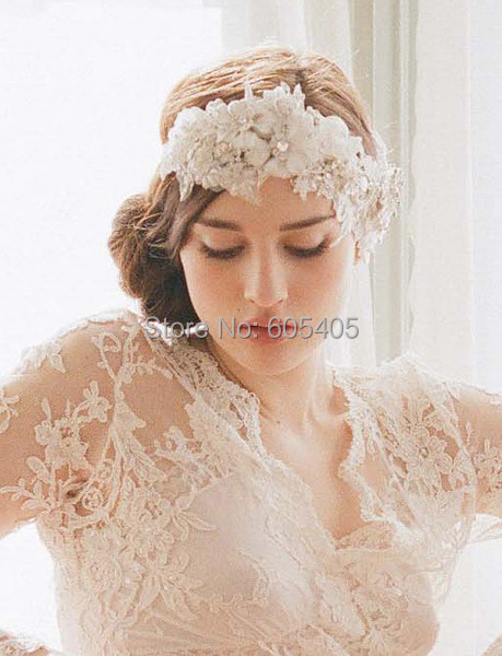 European wedding accessories version of the beautiful pearl lace bride hair accessory bridal veil
