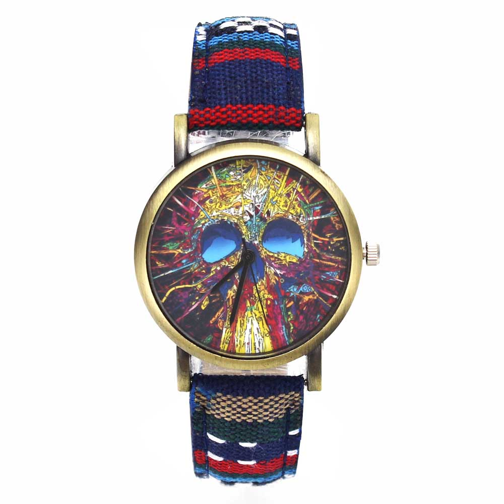 Fashion Head Head Devil Flower Skeleton Dial Watches Casual Men Women - Әйелдер сағаттары - фото 6