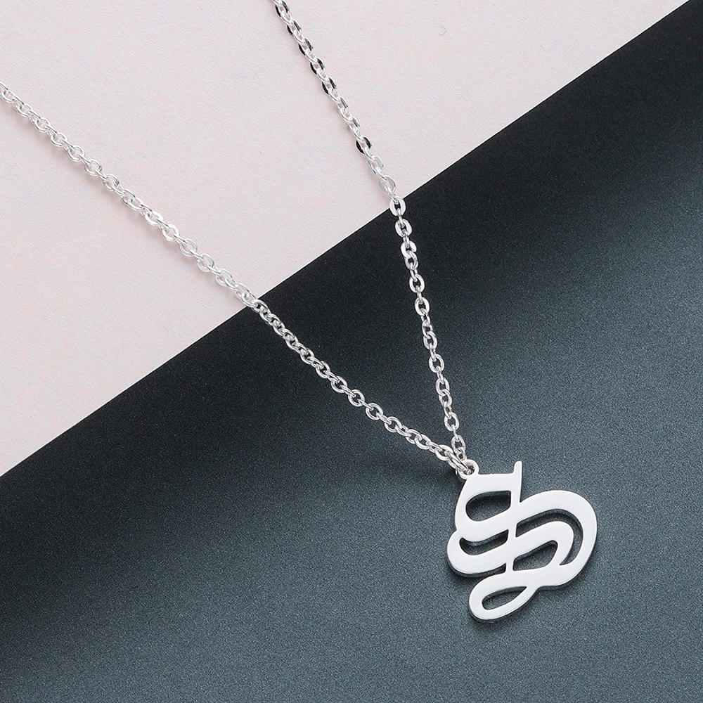Todorova Old English Custom Capital Initial A-Z Letter Pendant Necklace Men Vintage Font Personalized Necklace Women Jewelry 55