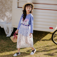 Kids Girls Fashion Cartoon Printed Suit Autumn Children Clothes Toddler Girls Round Collar T shirt and Hit color Lace Skirt Sets