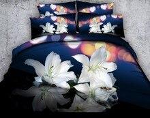 Floral Bedding set 3D Lily Flowers duvet cover sets Cal Super King queen size twin bed in a bag sheet linen bedspread quilt 4PCS все цены