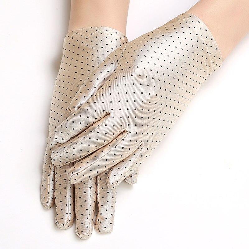 Women's Summer Outdoor Sports Cycling Dancing Sunscreen Short Sun Gloves Thin Elastic Spandex Black Spots Driving Gloves B70